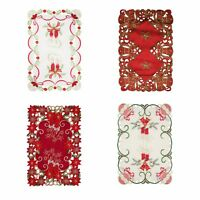 """SET OF 4 HOLIDAY DECORATIVE CHRISTMAS EMBROIDERY FABRIC PLACEMAT, 11""""x17"""""""