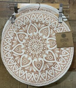 """Round Placemat 15"""" Pink & Ivory Atrium Placemats Lot of 4 New with Tag"""