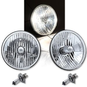 "7"" Crystal Glass/Metal H4 Headlight 60/55 Halogen Clear Light Bulb Headlamp Pair"