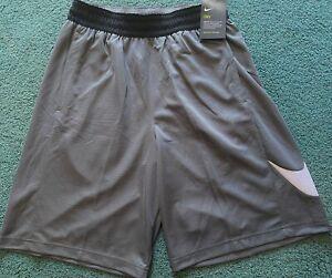 NWT Mens Nike M Gray/White/Black Basketball Big Swoosh Dri-Fit Shorts Medium
