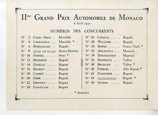 PHOTO ORIGINAL VINTAGE-G.P.AUTOMOBILES DE MONACO EN 1930-LISTE DES PARTICIPANTS