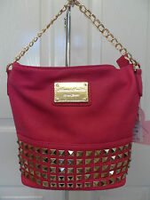 Anna Smith Ladies Womens Designer Plum Faux Leather Crossbody Shoulder Handbag