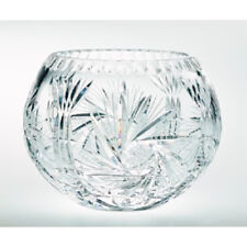 Pinwheel Crystal Rose Bowl 6 Inch With Free Market III Blue Candle Sample