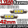 2x ERROR FREE CANBUS 3 SMD LED 42mm 264 C5W XENON WHITE NUMBER PLATE LIGHT BULB