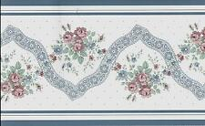COUNTRY SMALL FLORAL WITH LACE BLUE TRIM WALLPAPER BORDER