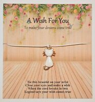 A Wish For You Friendship/Wish Bracelet Rose Gold Enamel Cat Charm Gift