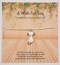 A Wish For You Friendship/Wish Bracelet Rose Gold Enamel Cat Charm Gift