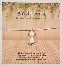 Un desiderio per te Braccialetto dell'amicizia/DESIDERIO ROSE ORO SMALTO GATTO FASCINO Regalo