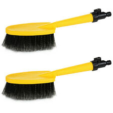 2 x Water Fed Car Wash Cleaning Soft Brush Attach To Hose Pipe with Control Tap