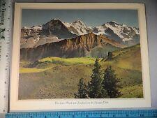 Rare Antique Orig VTG Eiger Monch Jungfrau Schynige Platte Color Litho Art Print