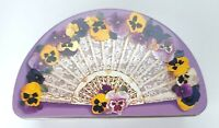 Vintage Fan Shaped Tin Ivory Colored Lace Purple Lavender Yellow Pansies...