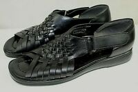 MARYLAND SQUARE womens slingback sandals size 8.5W  leather weave design black