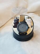 WATCH NWT Diamond Quartz Ice Maxx  w/CHANGEABLE leather bands Black Face