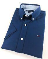 TOMMY HILFIGER Shirt Men's Short Sleeve Navy Blue Brushed Oxford Classic Fit