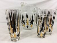 VTG MCM Pitcher & 8 Glasses Black Gold Arrows & Diamonds Atomic Sputnik Barware