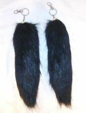 BLACK FOX TAIL KEY CHAIN novelty keychains NEW key chains fake foxes fur items
