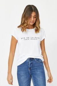 DECJUBA White embroidered Text T-shirt . Size M . Basic stretch