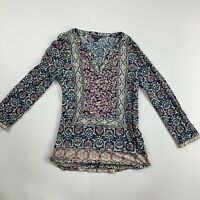 Lucky Brand Womens Long Sleeve Blue multicolor Boho Shirt Blouse Top Extra Small