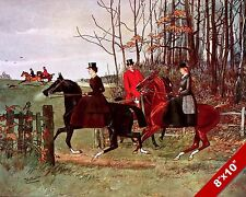 WOMEN RIDERS IN FOX HUNT HORSE EQUESTRIAN HUNTING ART PAINTING REAL CANVAS PRINT