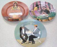 SET OF 3 GUY BUFFET MARCHE AUX FLEURS GBC Porcelain Salad Plates about 7 3/4 in.