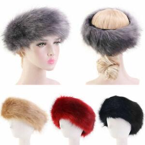 Unisex Russian Women Ski Headband Hat Fluffy Winter Warm Ear Flap Faux Fur Cap