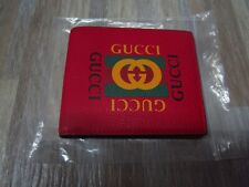 Gucci Logo Print Leather Bifold Coin Wallet Men's Red