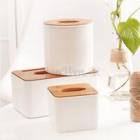 Tissue Box Wooden Dispenser Cover Paper Storage Organizer Auto Home Holder Case