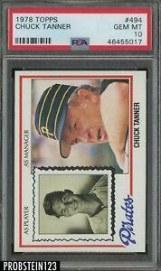 1978 Topps #494 Chuck Tanner Pittsburgh Pirates PSA 10 GEM MINT