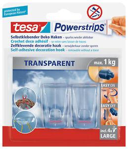2 tesa Powerstrips TRANSPARENT Klebehaken für max. 1,0 kg