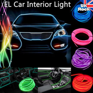 2-5M LED Car Interior Light Rope Tube Lamp Glowing EL Wire Decor 6mm Sewing Edge