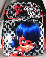 "MIRACULOUS LADYBUG BACKPACK CAT NOIR NICKELODEON BIRTHDAY GIFT NWT 16"" LARGE SIL"