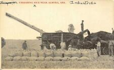 Threshing Rice Near Almyra, Arkansas Farming Scene ca 1910s Vintage Postcard