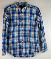 Lauren Ralph Lauren Women's Sz LRG Blue Green W Striped Shirt Blouse Button Down