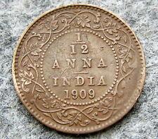 INDIA BRITISH EDWARD VII 1909 1/12 ANNA, slightly bent