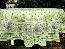 """LE CLUNY, LISA,  PISTACHIO, FRENCH PROVENCE COATED COTTON TABLECLOTH, 70"""" ROUND"""