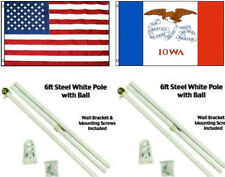 3x5 USA American /& State of Iowa Flag Aluminum Pole Kit Ball Top 3/'x5/'