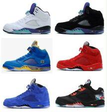 Jordan Retro Basketball Shoes 5 Laney Men Bred Red Suede White Metallic Cement B