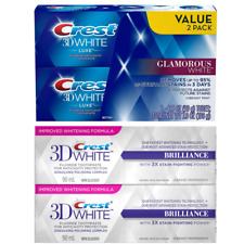 Crest 2 Pack 3D White Luxe Glamorous White Brilliance Teeth Whitening Toothpaste