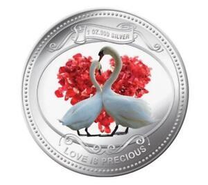 Niue Islands 2014 $2 Love Is Precious White Swans 1oz Silver Coin