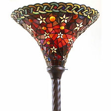 "Tiffany Style Vintage Reading Floor Lamp Torchiere Star Red Stained Glass 72"" H"