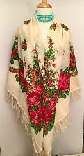 "PAVLOVO POSAD RUSSIAN White FLORAL X-LARGE WOOL SHAWL SCARF 57"" SQUARE New"