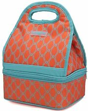 MIER Dual Compartment Insulated Lunch Box Bag Reusable Cooler Bag for Women,