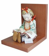 Hummel Book Worm Bookend 14/B NIB Girl Reading Book Wooden Base Bookend TMK 8