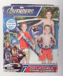 Marvel Avengers Inflatable Swim Combo Pool Noodle Swim Ring Beach Ball 3 Pc Set