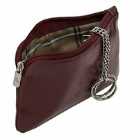 Visconti Monza 19 Leather Key Ring Zippered Coin Pouch Purse Case Red GREAT GIFT