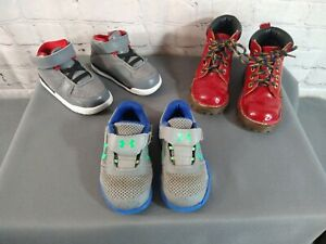PRE-OWNED lot of 3 toddler DOC MARTEN, UNDER ARMOUR & AIR JORDAN shoes - SIZE 6