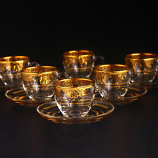 Turkish Flower Ottoman 24K Gold Tea Coffee Set
