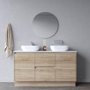 MELBOURNE 1500 Double Wooden Bathroom Vanity Stone Top, Basin Excluded, BV1715OT