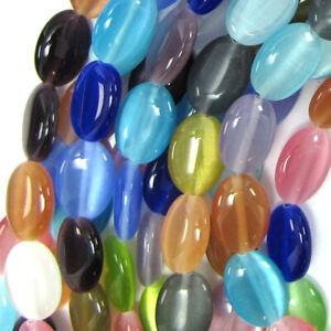 "14mm multicolor fiber optic cats eye flat oval beads 15"" strand S1"
