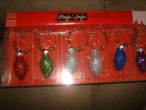 WINE CHARMS MINGLE & JUNGLE AND DEI ART GLASS HOLIDAY
